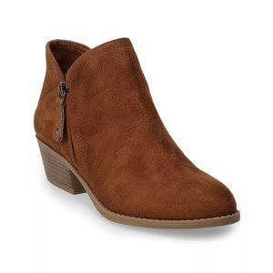 NWT Tan Faux Suede Ankle Boots Zipper Side Size 9
